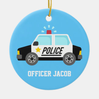 Classic  Police Car with Siren For Boys Room Ceramic Ornament
