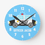 Classic  Police Car with Siren For Boys Room Round Wallclock