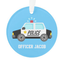 Classic  Police Car with Siren For Boys Room Ornament