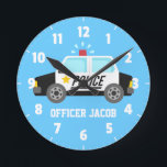 "Classic  Police Car with Siren For Boys Room Round Clock<br><div class=""desc"">Decorate kids bedroom,  especially boys using this classic police design that has a black and white police car with a sounding siren. Great for boys who aspire to be policeman or love police patrol cars. parents can teach them values like righteous and law and order. Personalise with child&#39;s name.</div>"