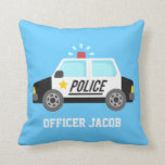 "Classic  Police Car with Siren For Boys Room Throw Pillow<br><div class=""desc"">Decorate kids bedroom,  especially boys using this classic police design that has a black and white police car with a sounding siren. Great for boys who aspire to be policeman or love police patrol cars. parents can teach them values like righteous and law and order. Personalise with child&#39;s name.</div>"