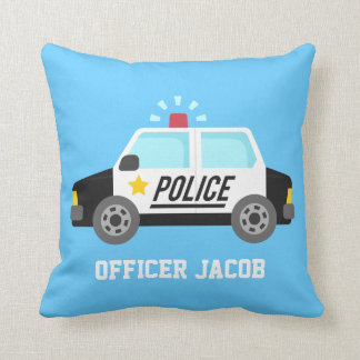 Classic  Police Car with Siren For Boys Room Throw Pillow