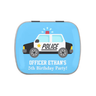 Classic Police Car with Siren For Kids Jelly Belly Candy Tins