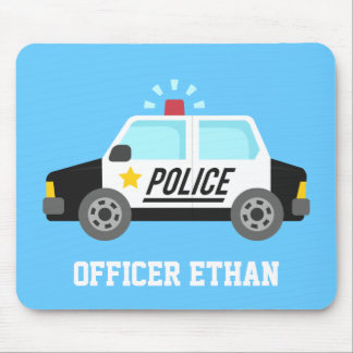 Classic Police Car with Siren For Kids Mouse Pad