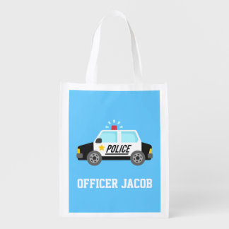 Classic Police Car with Siren For Kids Reusable Grocery Bag