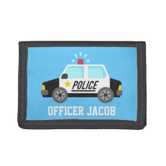 Classic Police Car with Siren For Kids Trifold Wallet