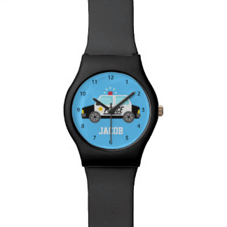 Classic Police Car with Siren For Kids Wrist Watch