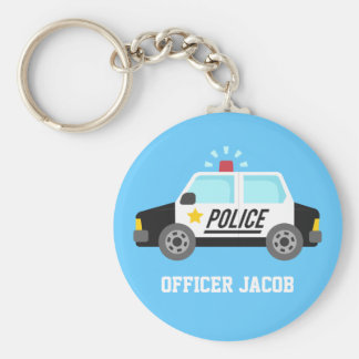 Classic Police Car with Siren Name Basic Round Button Keychain