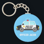 "Classic Police Car with Siren Name Keychain<br><div class=""desc"">A design with a classic black and white police car that has a sounding siren. For boys who aspire to be policeman love police patrol cars. Personalise with child&#39;s name. Background colour can be changed in customisation mode.</div>"