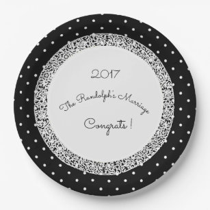 Victorian wedding template congrats gifts on zazzle classic polka dot vintagewedding template name paper plate maxwellsz