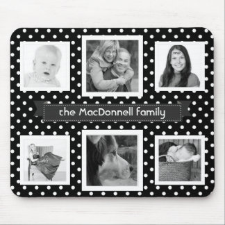 Classic Polka Dots BW Instagram Photo Collage Mouse Pad