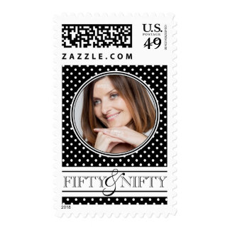 Classic Polka Dots Photo Nifty Fifty Postage Stamps