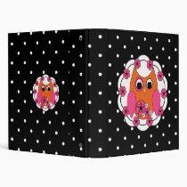 Classic Polkadots & Orange Owl Binder
