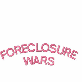 """CLASSIC  POLO SHIRT with """"FORECLOSURE WARS"""" on it."""