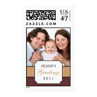 Classic portrai brown striped band Christmas photo Postage