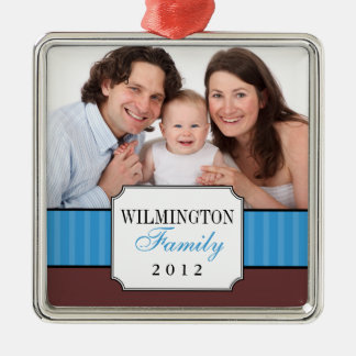 Classic portrait blue stripe band Christmas photo Metal Ornament