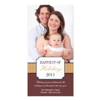Classic portrait brown stripe band Christmas photo Card