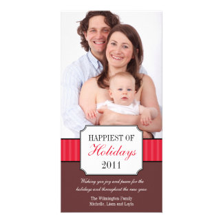Classic portrait red stripe band Christmas photo Card