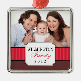 Classic portrait red stripe band Christmas photo Metal Ornament