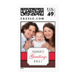 Classic portrait red striped band Christmas photo Stamp