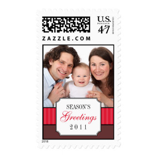 Classic portrait red striped band Christmas photo Postage Stamp