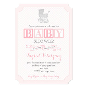 Classic Pram Girl Baby Shower Invites In Spanish