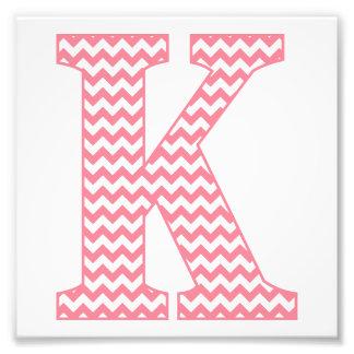 Classic Preppy Pink Chevron Letter K Monogram Photo Print