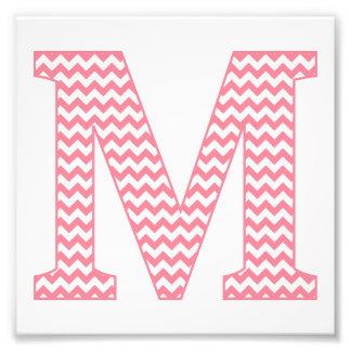 Classic Preppy Pink Chevron Letter M Monogram Photo Print
