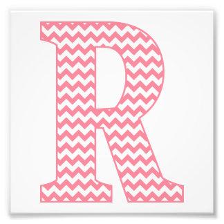 Classic Preppy Pink Chevron Letter R Monogram Photo Print