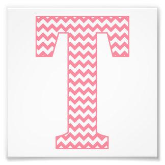 Classic Preppy Pink Chevron Letter T Monogram Photo Print