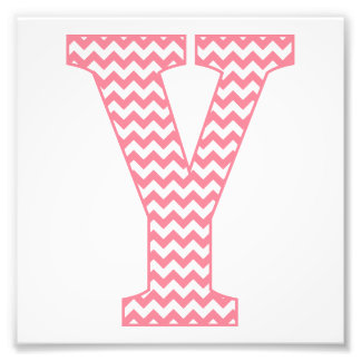 Classic Preppy Pink Chevron Letter Y Monogram Photo Print