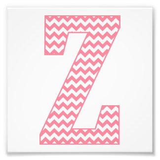 Classic Preppy Pink Chevron Letter Z Monogram Photo Print