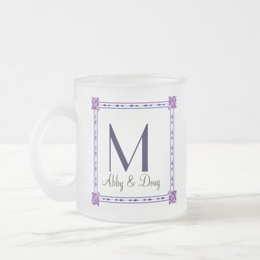 Classic purple and blue diy logo 10 oz frosted glass coffee mug