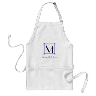 Classic purple and blue diy logo adult apron