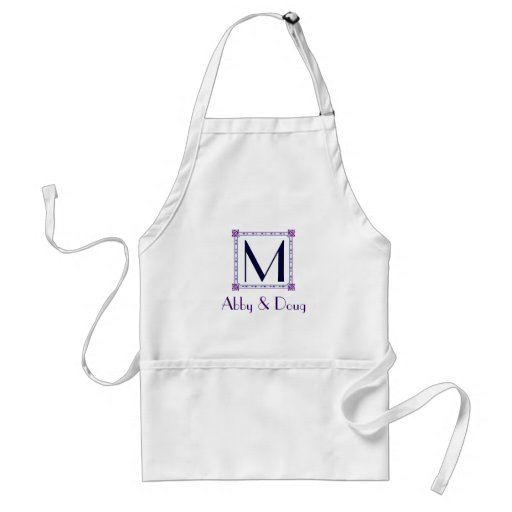Classic purple and blue diy logo aprons