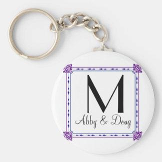 Classic purple and blue diy logo basic round button keychain