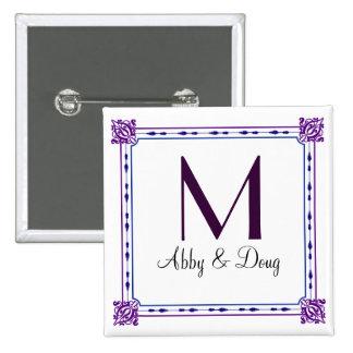 Classic purple and blue diy logo 2 inch square button