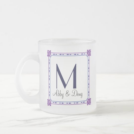 Classic purple and blue diy logo frosted glass coffee mug