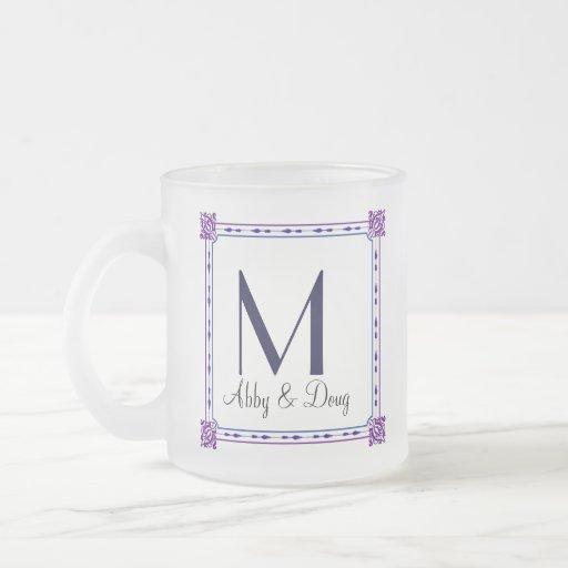 Classic purple and blue diy logo 10 oz frosted glass coffee mug