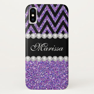 Classic Purple Glitter Black Chevron Pattern iPhone X Case