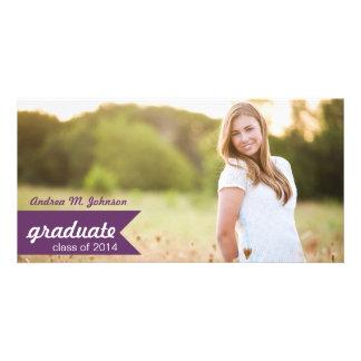 Classic Purple Graduation Announcement Photo Cards