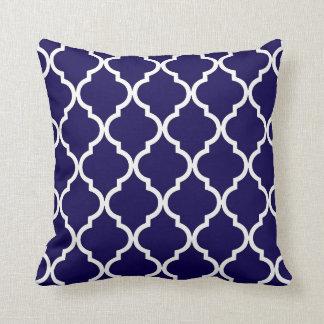 Classic Quatrefoil Pattern Cobalt Blue and White Throw Pillow