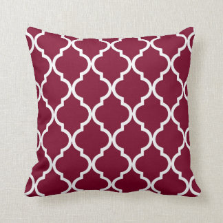 Classic Quatrefoil Pattern in Cranberry Red Pillow
