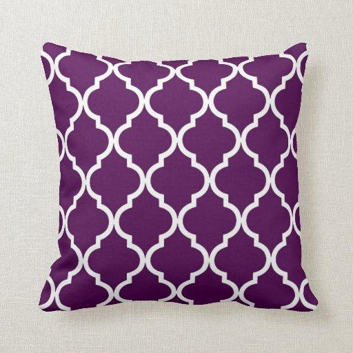 Throw Pillows Printing : Classic Quatrefoil Pattern Plum and White Throw Pillow Zazzle