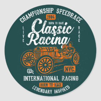 Classic Racing Born To Race International Champion Classic Round Sticker