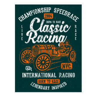 Classic Racing Born To Race International Champion Postcard