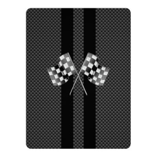 Classic Racing Flags Stripes in Carbon Fiber Style Card