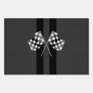 Classic Racing Flags Stripes in Carbon Fiber Style Lawn Signs
