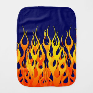 Classic Racing Flames Fire on Navy Blue Burp Cloth