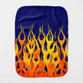 Classic Racing Flames Fire on Navy Blue Burp Cloths
